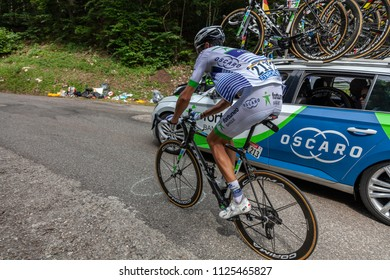 Mont du Chat, France - July 9, 2017: The French cyclists Brice Feillu of Fortuneo-Vital Concept Team climbing the road on Mont du Chat during the stage 9 of Tour de France 2017.