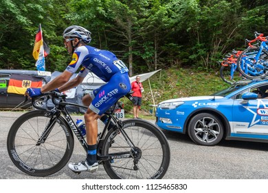 Mont du Chat, France - July 9, 2017: The Italian cyclists Gianluca Brambilla of Omega Pharma-Quick-Step Team climbing the road on Mont du Chat during the stage 9 of Tour de France 2017.