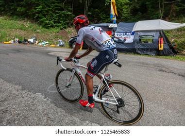 Mont du Chat, France - July 9, 2017: The Colombian cyclists Jarlinson Pantano of Trek-Segafredo Team climbing the road on Mont du Chat during the stage 9 of Tour de France 2017.