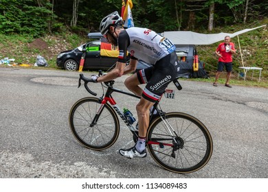 Mont du Chat, France - July 9, 2017: The Dutch cyclists Laurens ten Dam of Team Sunweb climbing the road on Mont du Chat during the stage 9 of Tour de France 2017.