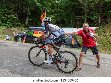 Mont du Chat, France - July 9, 2017: The German cyclists Simon Geschke of Team Sunweb climbing the road on Mont du Chat during the stage 9 of Tour de France 2017.