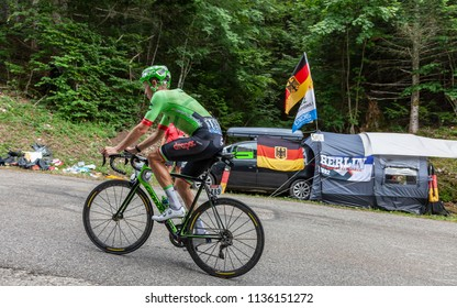 Mont du Chat, France - July 9, 2017: The Dutch cyclists Dylan van Baarle of Team Cannondale-Drapac climbing the road on Mont du Chat during the stage 9 of Tour de France 2017.