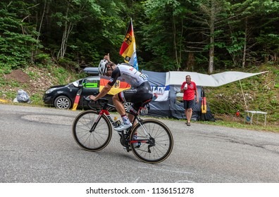 Mont du Chat, France - July 9, 2017: The Australian cyclists Michael Matthews of Team Sunweb climbing the road on Mont du Chat during the stage 9 of Tour de France 2017.