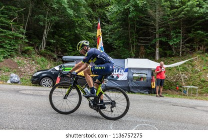 Mont du Chat, France - July 9, 2017: The Swiss cyclists Michael Albasini of Team Orica-Scott climbing the road on Mont du Chat during the stage 9 of Tour de France 2017.