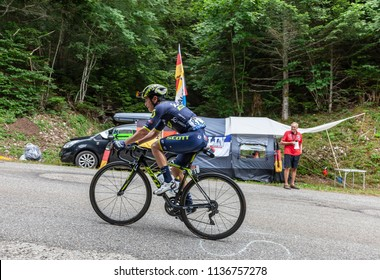 Mont du Chat, France - July 9, 2017: The Colombian cyclists Esteban Chaves of Team Orica-Scott climbing the road on Mont du Chat during the stage 9 of Tour de France 2017.
