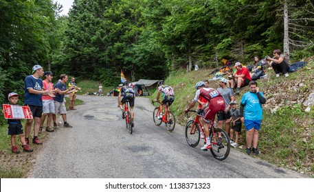 Mont du Chat, France - July 9, 2017: The Swiss cyclist Reto Hollenstein of Team Katusha is climbing the road on Mont du Chat during the stage 9 of Tour de France 2017.