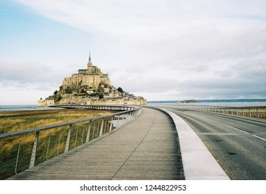 Mont Saint Micheal, France - Nov 2018 : Morning in Mont Saint Micheal during Autumn shoot by lomography 800 film