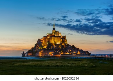 Mont Saint Michel Abbey - Normandy France - travel and architecture background
