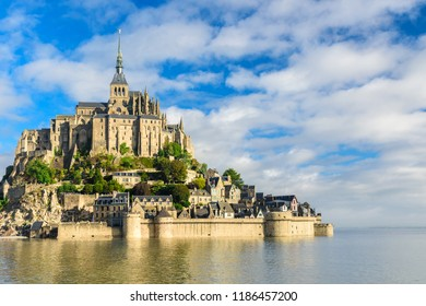 Mont Saint Michel abbey on the island, Normandy, Northern France, Europe at sunrise