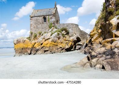 Mont Saint Michel chapel against blue sky