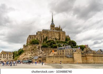 MONT SAINT MICHEL, FRANCE - JULY 30, 2017: Mont Saint-Michel, Normandy, France. UNESCO World Heritage