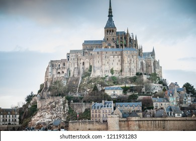 Mont Saint Michel, France - September 23, 2015: architectural detail of the rocky island where stands the Mont Saint-Michel abbey on a winter day