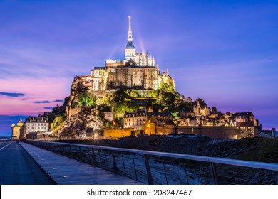 Mont Saint Michel Normandy France at night from new bridge july 2014