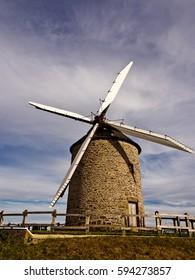 Mont saint Michel, Normandy, France, Europe. 11th September 2012. Windmill Moidrey near Mont saint Michel, Normandy, France, Europe