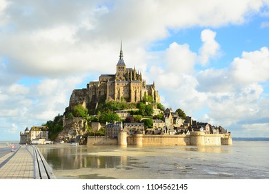 Mont saint-michel with blue sky and clouds