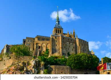 Mont Saint-Michel, cathedral on the island on quicksand, Normandy, France, Europe