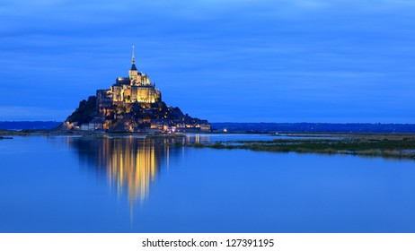 Mont Saint-Michel in evening