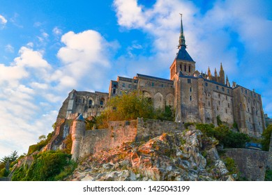Mont Saint-Michel in the evening, abbey on the island on quicksand, Normandy, France, Europe
