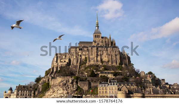 Mont Saint-Michel and his abbey in Normandy, France