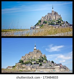 Mont Saint-Michel island commune in Normandy set  - Mont St Michel world famous tourist attraction in Normandy, France collection