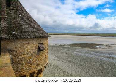 Mont Saint-Michel, Normandy, France - 4/4/2017: Gabriel Tower is part of the defensive wall fortifications surrounding Mont Saint Michel.