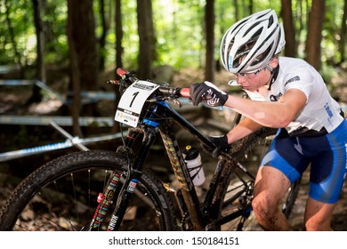 MONT STE-ANNE, QUEBEC, CANADA - August 10: Cross Country Women Elite, 3rd place, SLO - ZAKELJ Tanja, UCI World Cup on Aug. 10, 2013