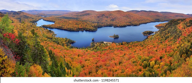 Mont Tremblant National Park panoramic view with autumn colors, Canada