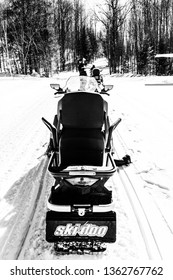 Mont Tremblant Quebec/Canada - March 23 2019: rear view of a Skidoo