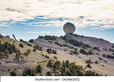 Mont Ventoux, France - June 15, 2018. Radar in mountain top of famous Mont Ventoux in Haute-Provence, France