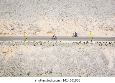 Mont Ventoux, France - June 15, 2018. Cyclists on bicycles going on the road in mountain hill Mont Ventoux