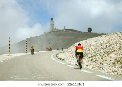 MONT VENTOUX, FRANCE - JUNE 16, 2014: Cyclists on road on the way to the top of Ventoux mount  in Provence, south France