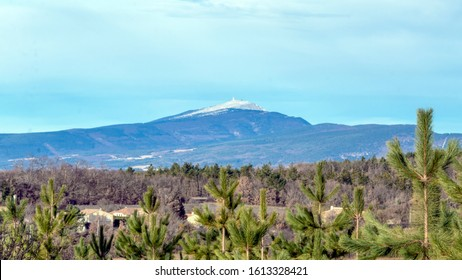 Mont Ventoux mountain in the Provence region of Southern France. View from Revest-du-Bion commune in beautiful sunny day with blue sky