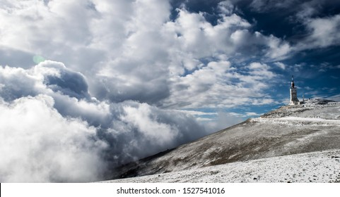 Mont Ventoux in winter with snow in january