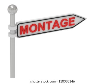 MONTAGE arrow sign with letters on isolated white background