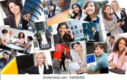 Montage of beautiful successful businesswomen or woman working in the city in business meetings using cell phones, tablet computers & laptop computers.