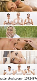 Montage of beautiful women enjoying a healthy lifestyle at the gym and health spa, yoga exercising and enjoying relaxing massage treatments