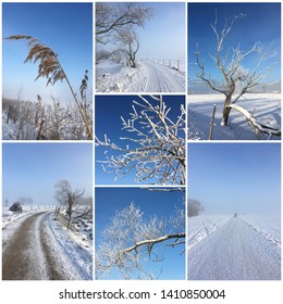 Montage of a clear winter day with blue sky in the surroundings of Vadstena, Sweden. Detail of branches dressed in snow.