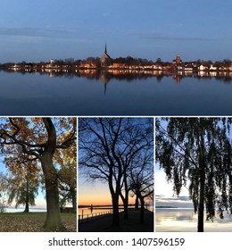 Montage with four pictures of trees and water and coastline of town at waterfront.