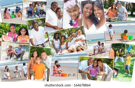 Montage of happy ethnic families and couples parents and children men women boys and girls enjoying an active lifestyle on holiday vacation, at the beach, playing games in the garden and cycling