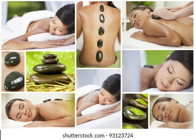 Montage of health spa products and beautiful young asian chinese and african american girl being pampered with luxury massage treatment and hot stones
