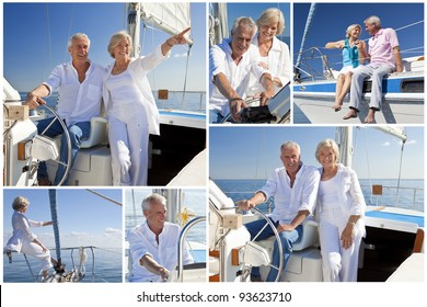 Montage of healthy retired couple sailing aboard their luxury yacht or sail boat