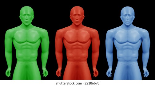 Montage from  image of real mannequin, performed in three colors.