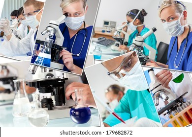 Montage of interracial medical people, men, women, doctors, nurses, research team in hospital laboratory analyzing samples and solutions