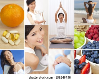 Montage of an oriental chinese woman girl working out at a gym active on a beach, enjoying a healthy lifestyle and eating fresh fruit and vitamin tablets