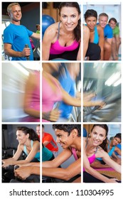 Montage of people exercising at gym on equipment and yoga.