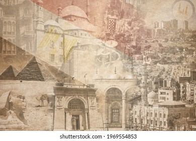 montage photo of Cairo on vintage paper