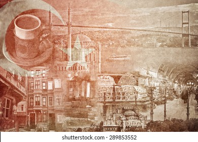 montage photo of Istanbul on vintage paper