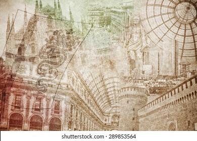 montage photo of Milano on vintage paper