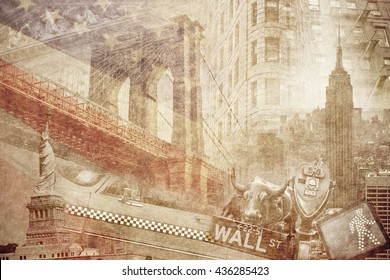 Montage photo of New York on vintage paper
