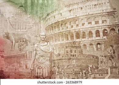 montage photo of Rome on vintage paper